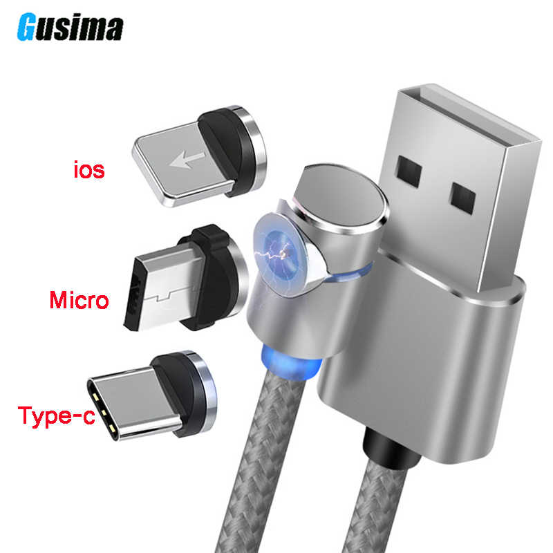Gusima L-Line Magnetic Charging Cable ,90 Degree LED Cable for iPhone X 8 7 6 Plus & Micro USB Cable & USB Type-C USB C Cable