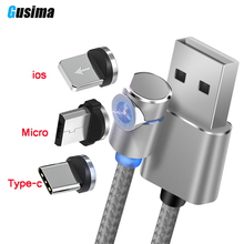 Gusima L-Line Magnetic Charging Cable ,90 Degree LED for iPhone X 8 7 6 Plus & Micro USB Type-C C