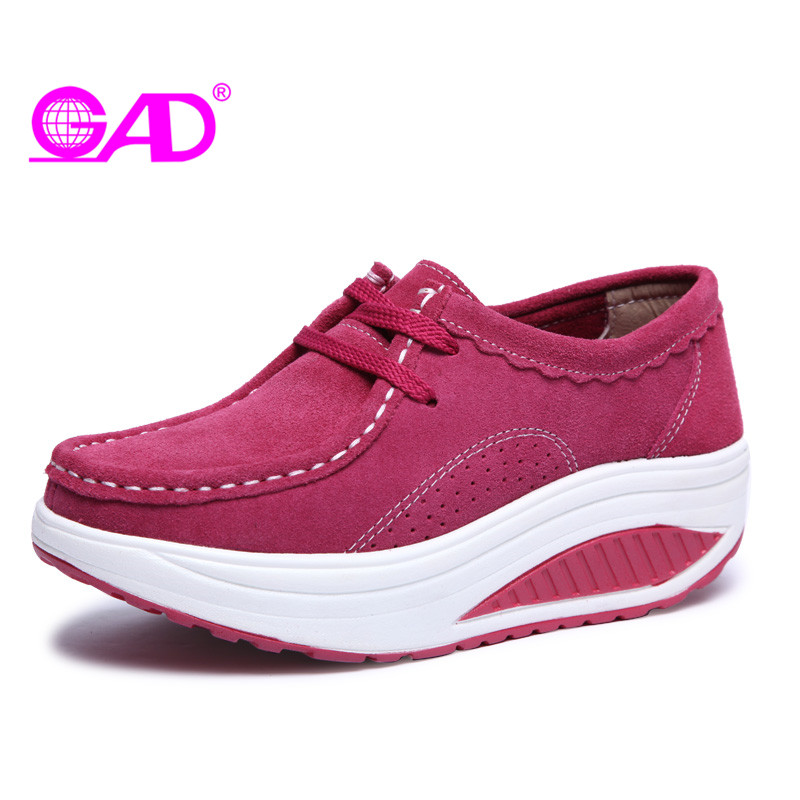 GAD Women Flat Platform Shoes Spring/Winter New Fashion Round Toe Suede Women Casual Shoes Slimming Women Swing Shoes Flats women s shoes 2017 summer new fashion footwear women s air network flat shoes breathable comfortable casual shoes jdt103