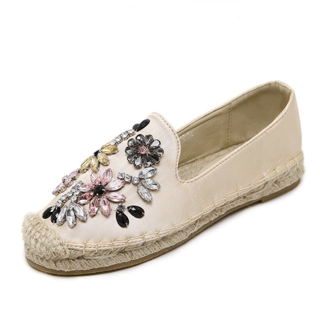 Summer Rhinestone Crystal Flat Shoes Women Hemp Rope Cane Fisherman Shoes Espadrilles Faux Silk Satin Oxfords Loafers Trainers