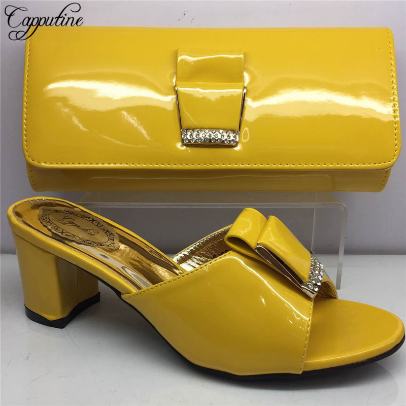Capputine Hot Sale Nigerian PU Leather Ladies Pumps Shoes And Bag Set 2018 New Italian Style Shoes And Bag Set For Party BL975C hot artist high quality pu leather shoes and handbag set italian style rhinestone pumps shoes and woman bag set for party yk 185