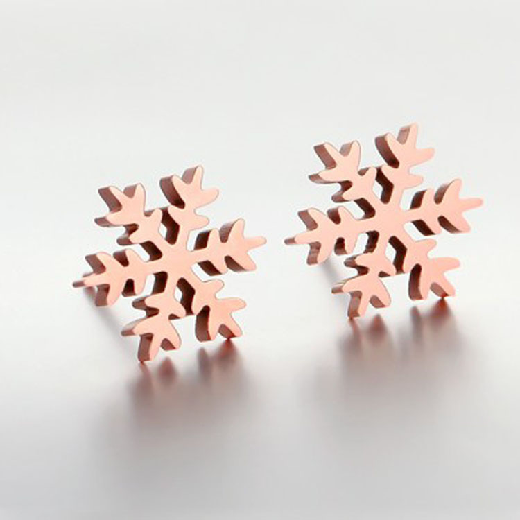 FREE SHIPPING Christmas gift, Titanium steel Rose Gold color plated Woman romantic snowflake Stud Earrings