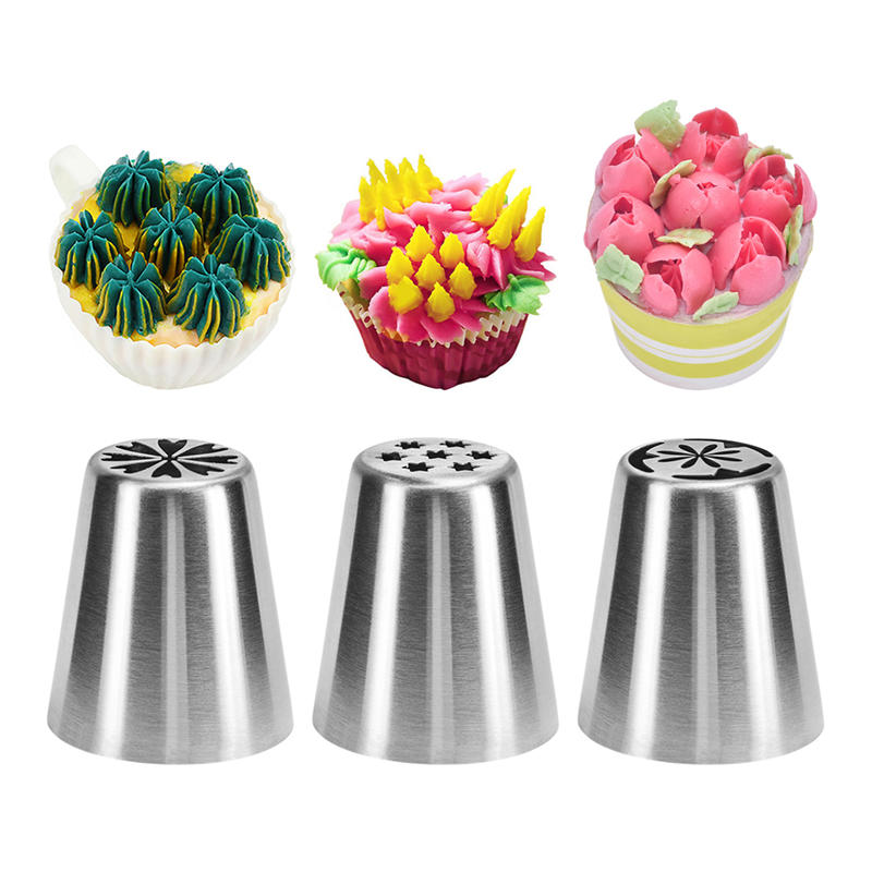 3Pc Set Icing Piping Tips Special Russian Leaf Nozzle Bakeware Cupcake Cake Decorating Pastry Baking Tools in Baking Pastry Tools from Home Garden