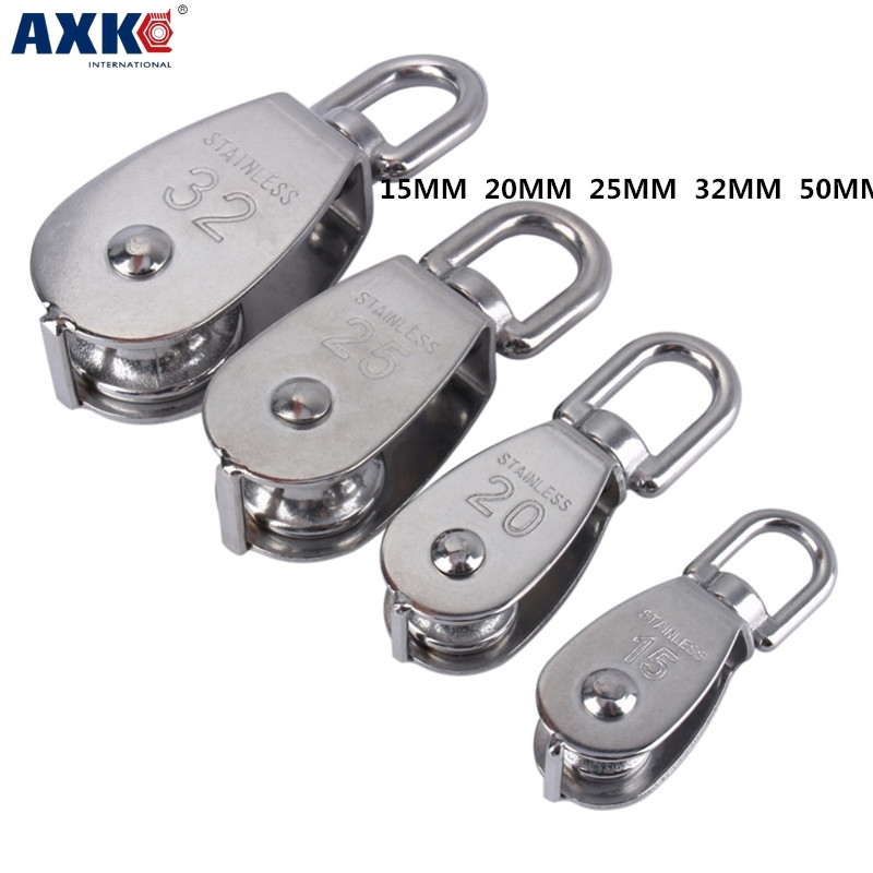 AXK 1pcs 304 stainless steel pulley wire rope chain traction fixed pulley lifting load pulley single pulley m15 m20 m25 304 stainless steel wire rope single double wheel fixed pulley crown block universal lifting swivel traction sheave