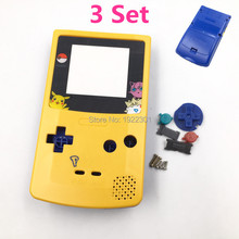 3 Set For Gameboy Color Housing Shell Cover Case Replacement Yellow & Blue Color Limited Edition for GBC Pokemon Design