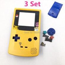 3 conjuntos para gameboy capa invólucro, substituição de cor amarela e azul, edição limitada para gbc, design de pokemon