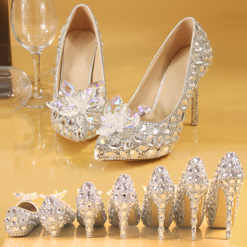 Silver Heels Wedding: Silver Crystal Wedding Shoes Rhinestone Pearl Beaded Women