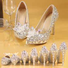 Women Pumps Wedding-Shoes Crystal Rhinestone Bridesmaid Pearl High-Heel Silver Pointed-Toe