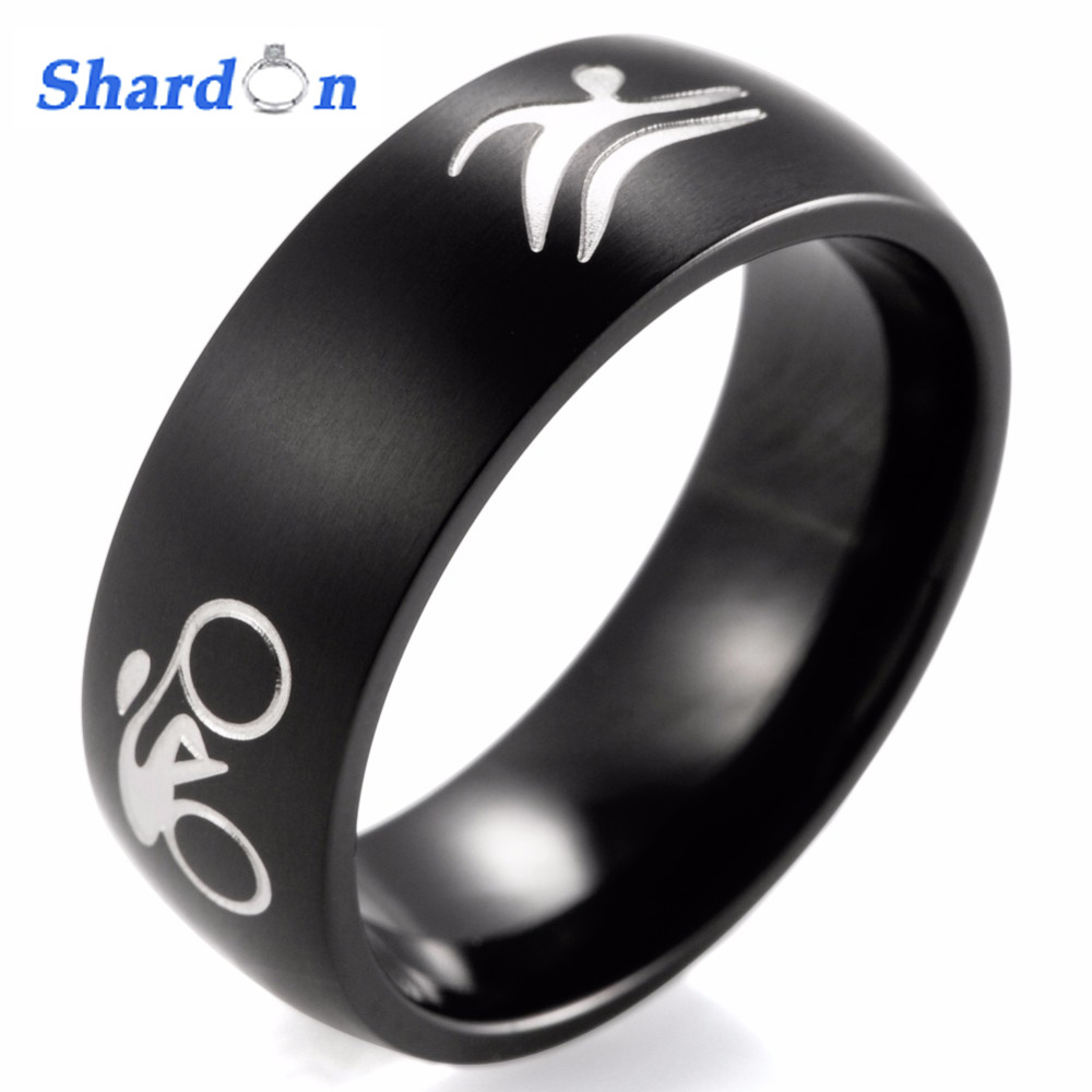 SHARDON Men's Black Titanium Triathlon Band SATIN FINISH the BIKE, SWIM emblems encircling ring Sports Ring for Men цены