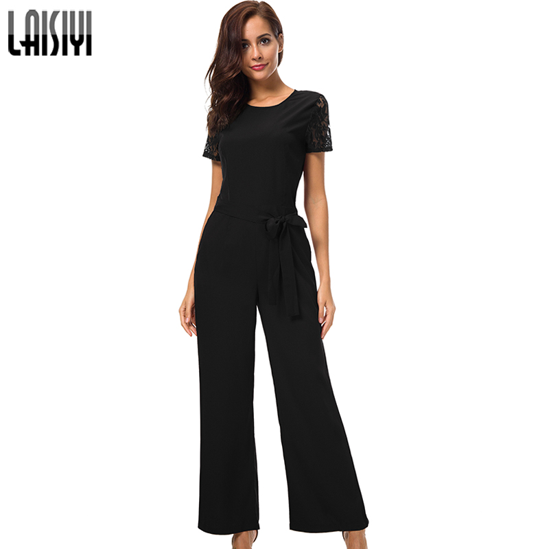 LAISIYI Summer   Jumpsuit   Woman 2018 elegant Lace Short Sleeve Backless Black   Jumpsuit   Long Ladies Office Rompers Red ASJU20255