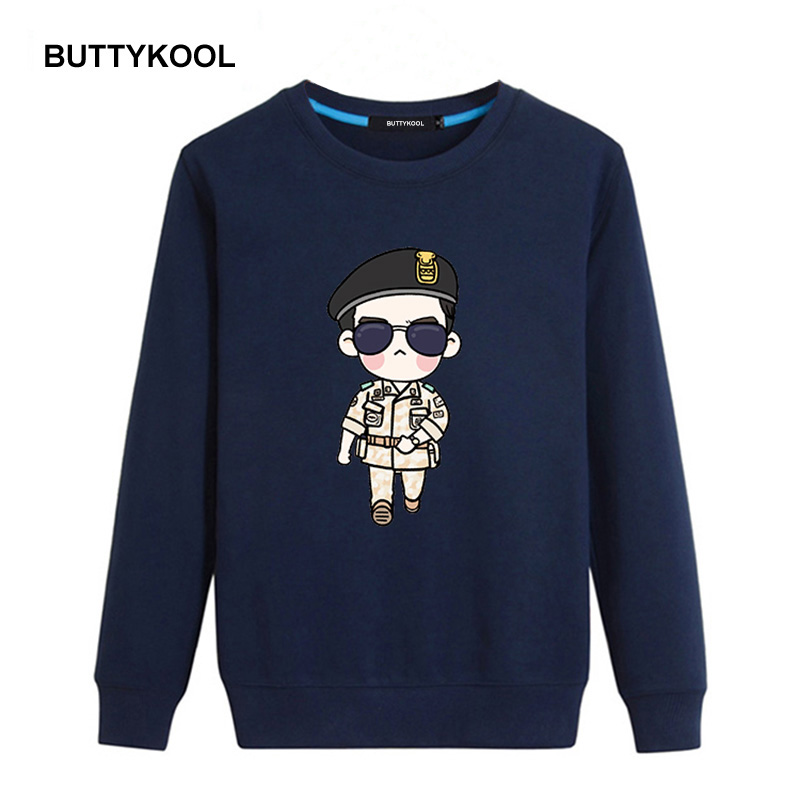 BUTTYKOOL 2018 Spring Autumn Men's Sweatshirts Cotton Hoodies Men Casual hoodies O-Neck Printed Brand Clothing OverSize