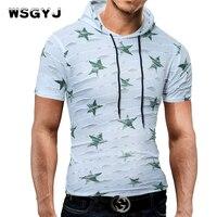 WSGYJ Male 2017 Brand Short Sleeve Hoodie Star Print Hole Hooded T Shirt Slim Men T