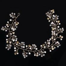 Luxury Headbands  For Women European Wedding Bride Tiaras Crystal Pearl Floral Hairband Hair Jewelry Handmade Hair Accessories