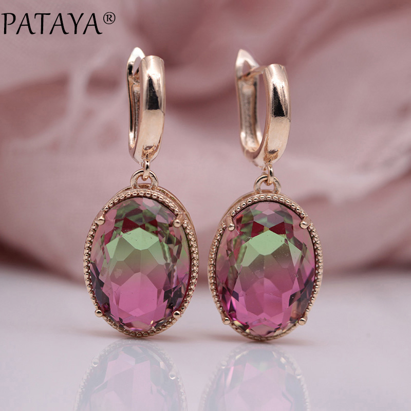 PATAYA New 585 Rose Gold Oval Tourmaline Zircon Long Dangle Earrings Women Wedding Party Hollow Earring Top Quality Fine Jewelry