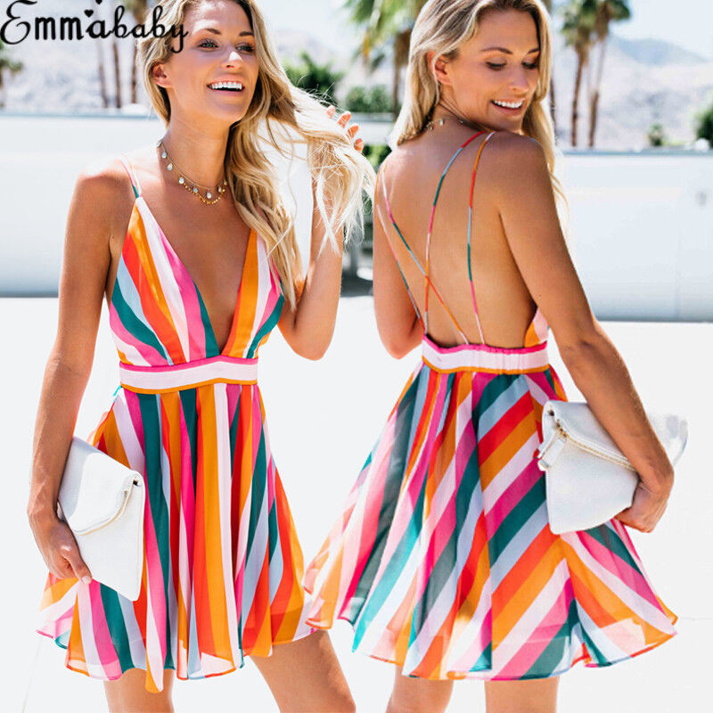 HIRIGIN Women's Sleeveless Color Stripe Mini Deep V Dress Wedding Party Summer Beach Sling Halter Sun Dress