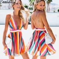 HIRIGIN damski bez rękawów kolorowy pasek Mini głębokie V sukienka wesele letnia plaża Sling Halter Sun Dress