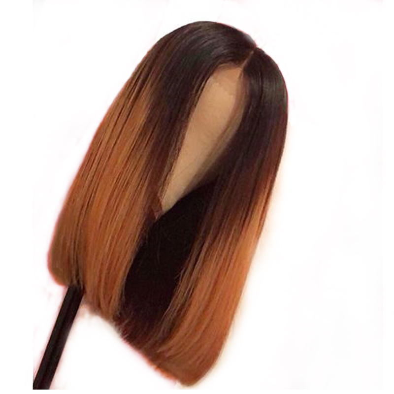 180% Density 13x6 Deep Part Women Ombre 30 Two Tone Human Hair Bob Lace Front Wig Dark Root Colored Straight Brazilian Remy Wig