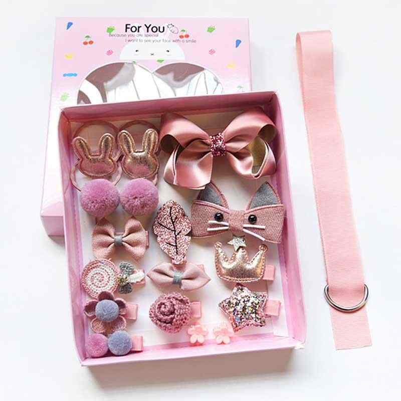 18pcs/set Hair Clips For Girls Hair Accessories birthday Gift Set  With Box  Handmade Bow Hairpins kids Hair Barrettes Hairgrips