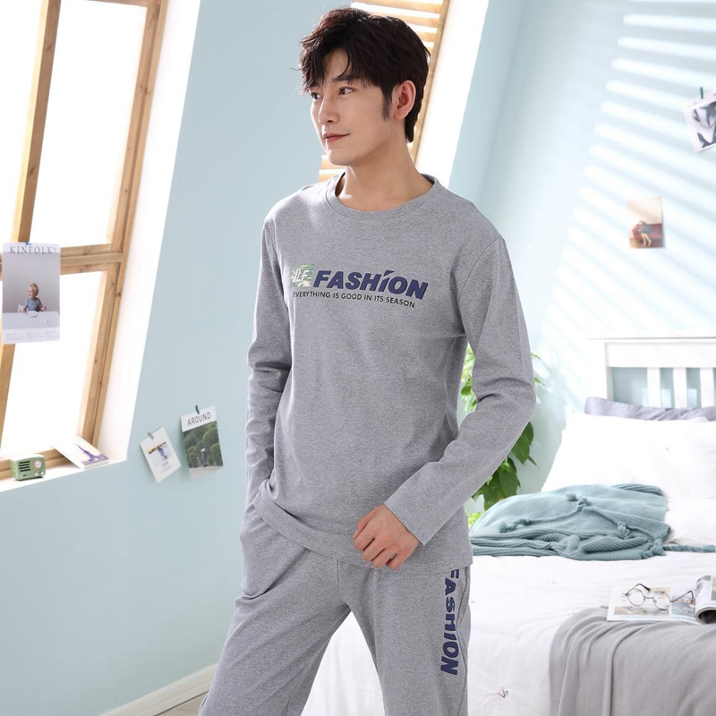 Casual Letter Cotton Pajama Set For Men 2018 Autumn Winter Long Sleeve O-Neck Pyjama Plus Size Male Lounge Homewear Home Clothes