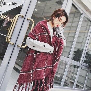 Scarves Women Winter Plaid Retro Soft All-match Long Shawl Simple Korean Style Ladies Wraps Womens Cashmere Elegant Trendy Scarf