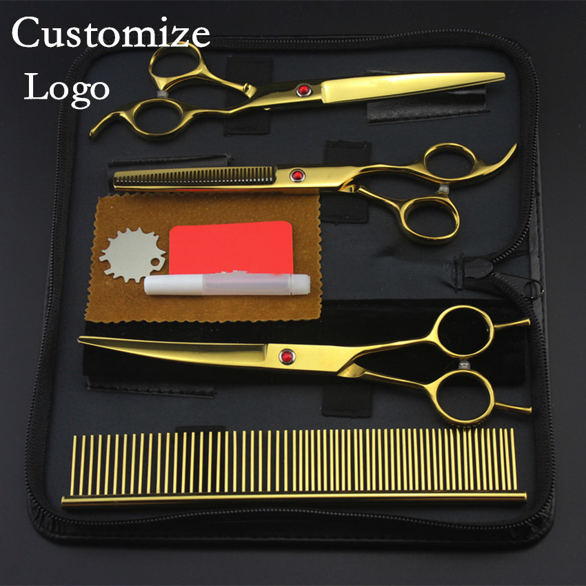 Customize Professional Golden 4 Kits Pet 7 Inch Shears Dog Grooming Hair Scissors Thinning Cutting Barber Hairdressing Scissors