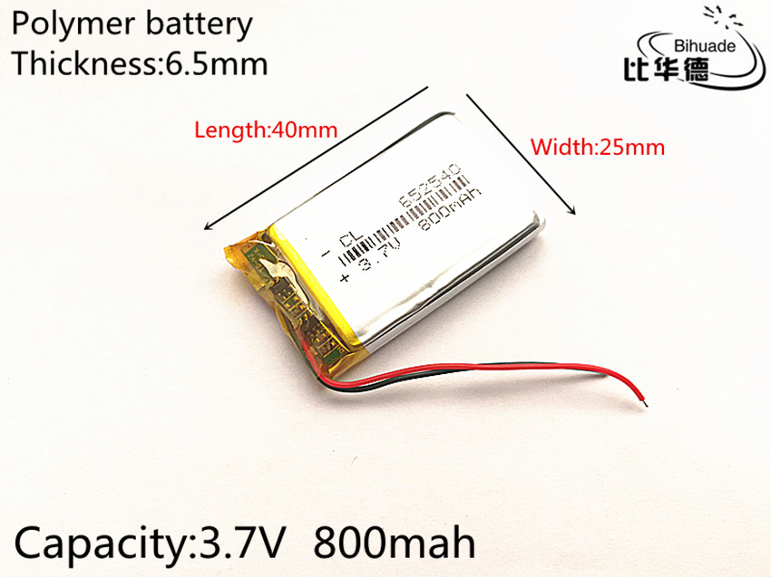 small capacity rechargeable li-ion batteries 3.7v 800mah <font><b>652540</b></font> for toys LJ Driving recorder image