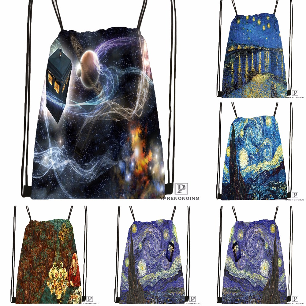 Custom Van Gogh Starry Night Drawstring Backpack Bag For Man Woman Cute Daypack Kids Satchel (Black Back) 31x40cm#180531-01-11