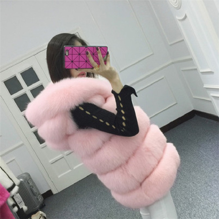 2016 Autumn Winter Women Faux Silver Fox Fur Coat Outwear Medium Long Waistcoat Luxury Lady Hooded Vest Woman Clothing FUR-31173