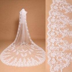 3 metro branco marfim catedral véus de casamento longo borda do laço véu de noiva com pente acessórios de casamento noiva mantilla véu de casamento