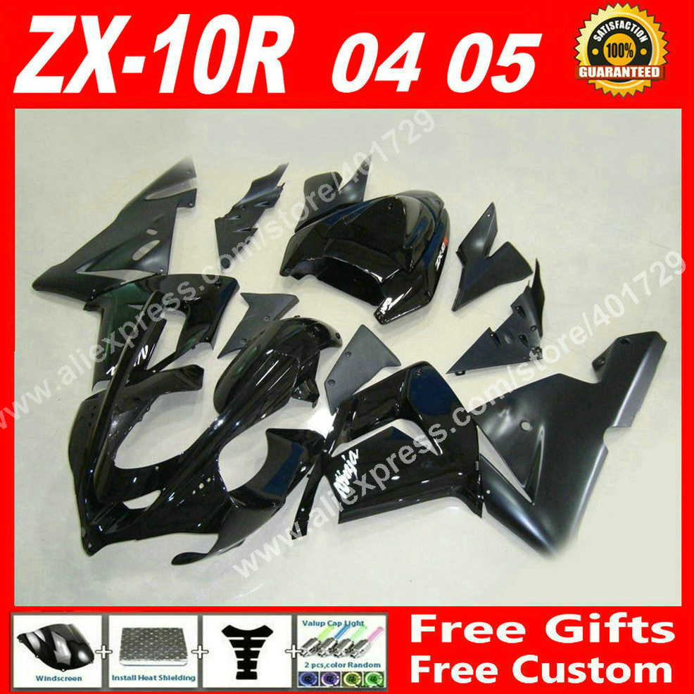 High quality Fairings for Kawasaki ZX10R 04 05 ZX-10R glossy flat black 2004 2005 ZX10 fairing kits 7 gift YO03 high quality abs plastic for kawasaki ninja zx10r zx 10r 2004 2005 04 05 moto custom made motorcycle fairing kit bodywork c459