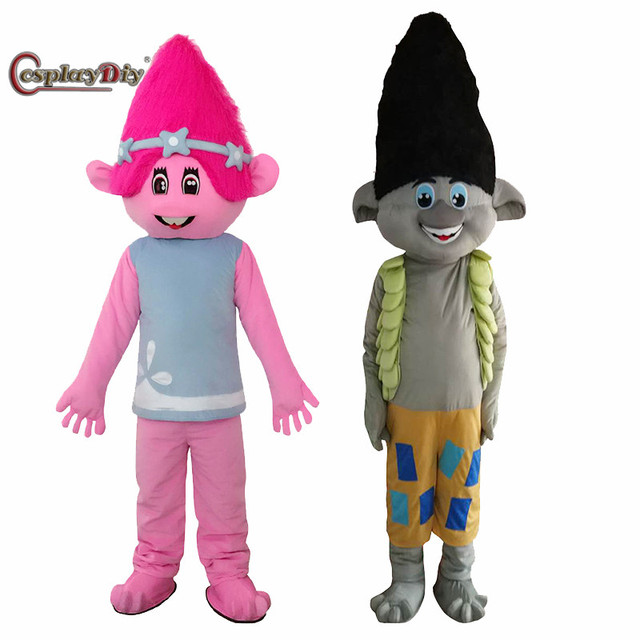 Cosplaydiy 2017 New Mascot Costume Trolls Mascot Cartoon Bobby Blanche Parade Quality Clowns Birthdays Adult Costumes JF