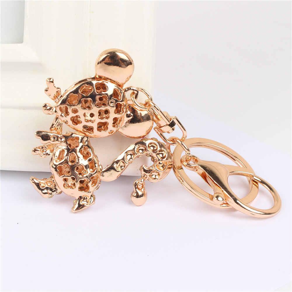 ใหม่สีชมพูหนูเมาส์พวงกุญแจจี้คริสตัล Rhinestone Charm สำหรับกระเป๋าถือกระเป๋าถือกระเป๋า Carkey ของขวัญ