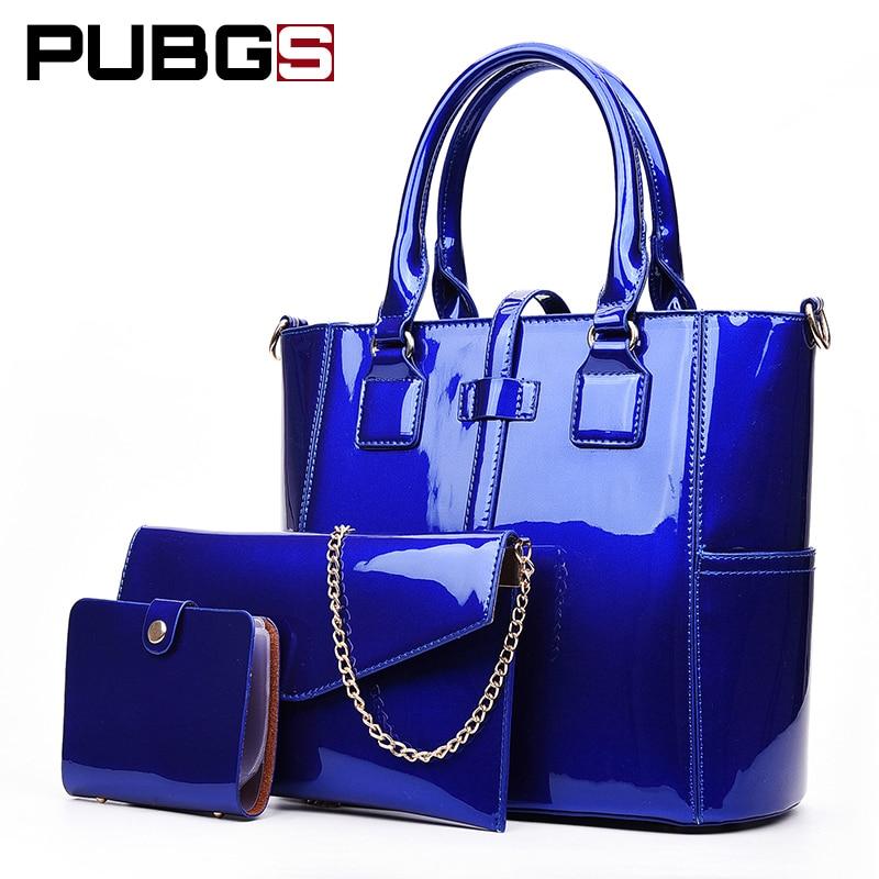 Для женщин сумка Мода Сумки женские Высокое качество кожи Яркий ПУ практические больше Ёмкость комплект одежды из 3 предметов pubgs 2018 Новый