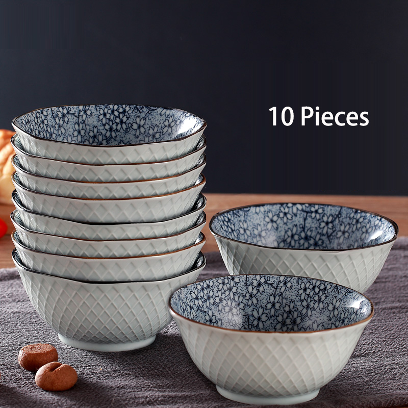 Jingdezhen Japanese Style Ceramic Bowl Cutlery Sets Creative 10 PCS 5 Inch Bowl Rice Bowl Desserts