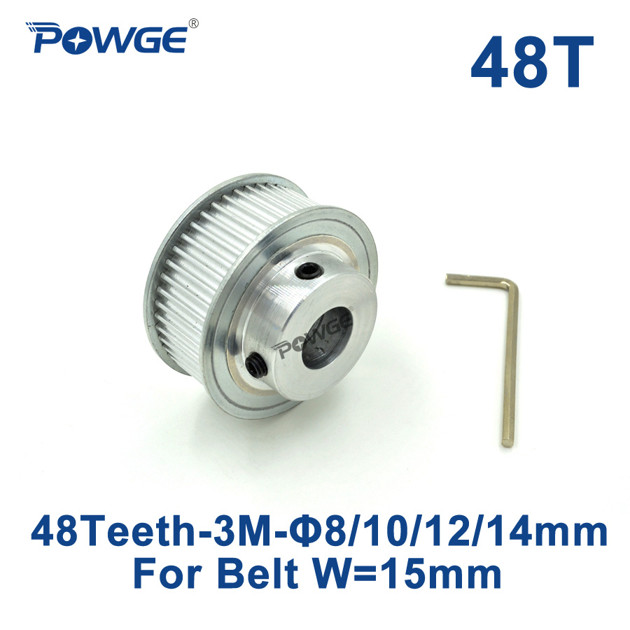 POWGE 1pcs 48 Teeth HTD 3M Timing Pulley Bore 8mm 10mm 12mm 14mm for Width 15mm 3M Synchronous belt HTD3M pulley 48Teeth 48T