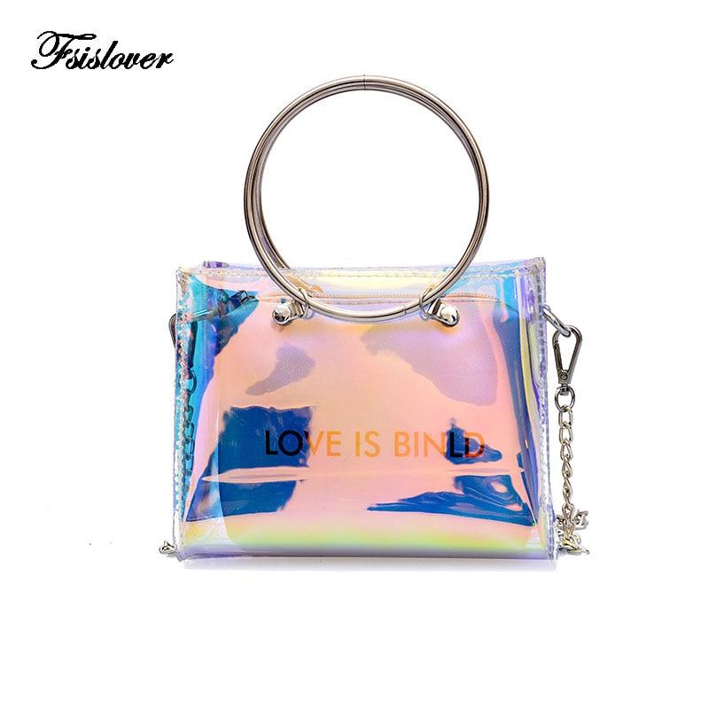 FSISLOVER Summer 2018 Small Handbag Transparent Women Hand Bags Chain Lady PU leather Travel Beach Shoulder Cross Body Bag