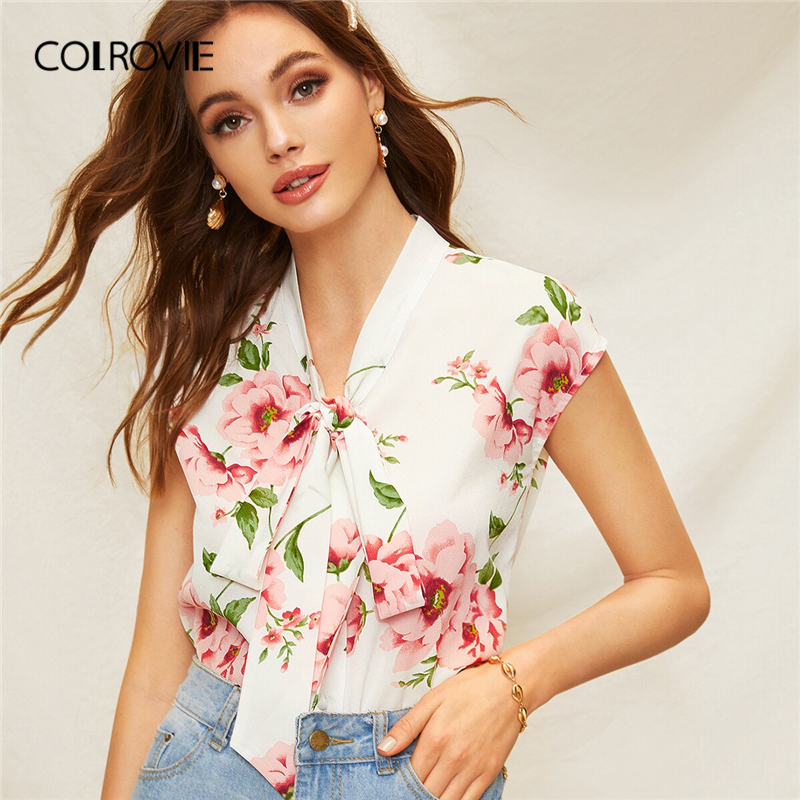 COLROVIE Beige Floral Print Tie Neck Boho   Blouse     Shirt   Women Clothes 2019 Summer Holiday Vacation   Blouses   Ladies Tops