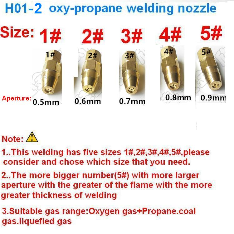 5pcs/lot  H01-2 Oxygen Propane Welding Nozzle/welding Tip Sizes Of 1# 2# 3# 4# 5# For H01-2 Welding Torch