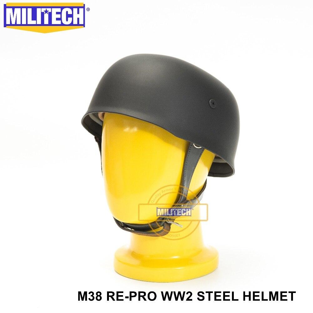 MILITECH Black WW2 German M38 Steel Helmet WW II M38 Black German Paratroop Helmet Genuine Leather