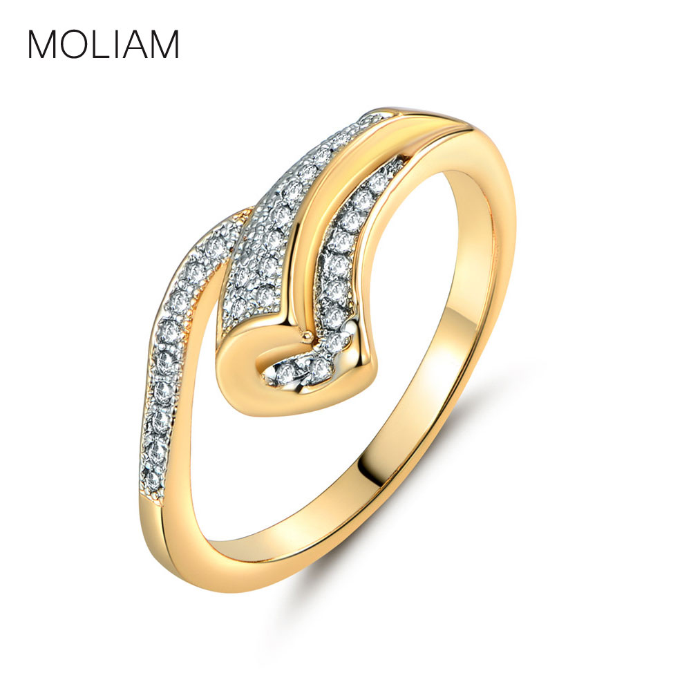 Moliam Brand Unique Design Rings For Womens Goldcolor Zirconia Crystal  Jewelry Engagement Ring Accessories