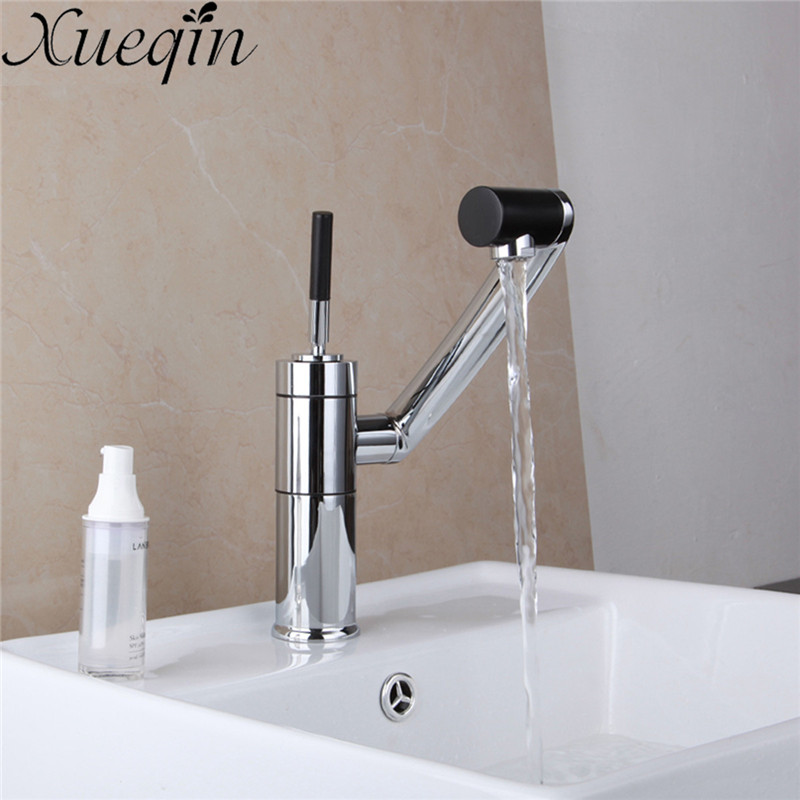 Xueqin Bathroom Basin Faucet Multi-function 360 Degree Rotation Body Spout Solid Brass Chrome Finish Hot/Cold Water Tap Mixer hpb multi function pull out lifting bathroom faucet brass bathroom sink mixer dual pattern spout 360 rotation design hp3048
