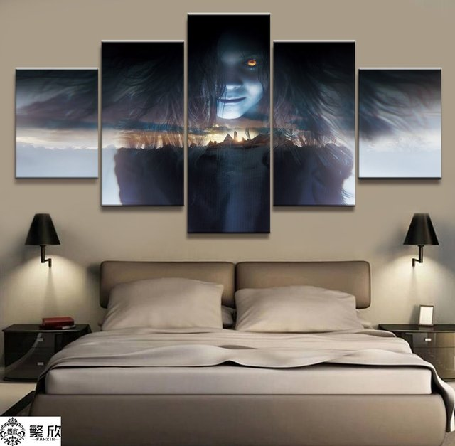 5 panel resident evil 7 biohazard canvas printed painting for living room wall art home