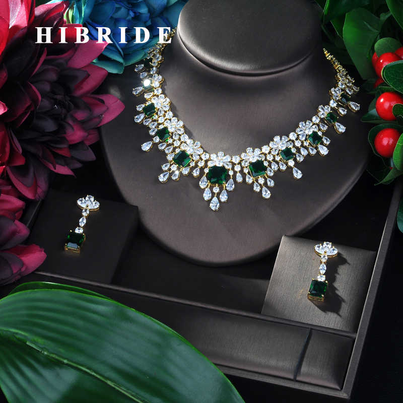HIBRIDE Brilliant 2019 New Water Drop Women Wedding Jewelry Sets Cubic Zirconia Saudi Arabia Statement Necklace 2pcs Set  N-89