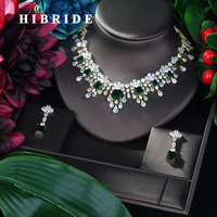 HIBRIDE Brilliant 2019 New Water Drop Women Wedding Jewelry Sets Cubic Zirconia Saudi Arabia Statement Necklace 2pcs Set N 89