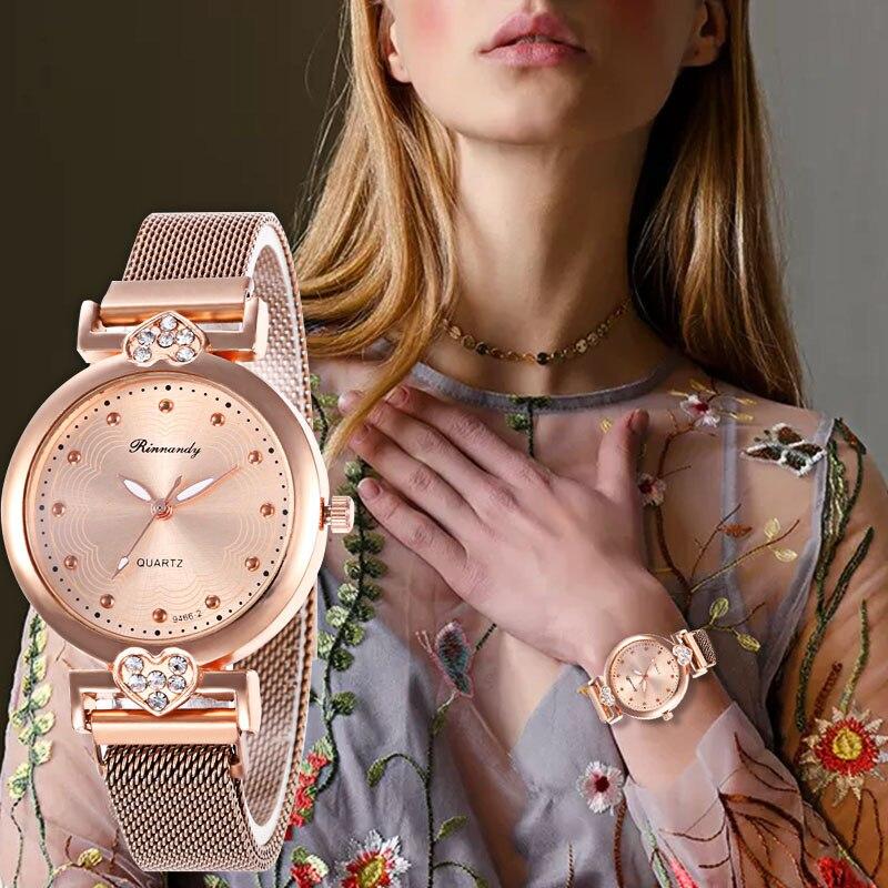 WJ-8565 Luxury Rose Gold Rhinestone Ladies Watches Glass Quartz Mesh Belt With Magnetic Buckle Ladies Watch Montres 2019 Femme