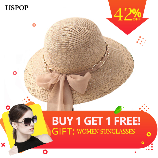 c27b4eabc36 USPOP 2019 New women summer ribbon big bow-knot straw hat breathable chain  straw sun hat casual women wide brim beach hats