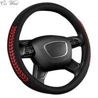 Car Wind 38 CM Genuine Cowhide Leather Auto Car Steering Wheel Cover Black Steering Wheel Cover