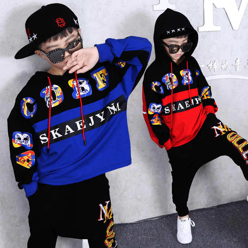 Boys Hip Hop Outfit Kids Streetwear Dance Costume Kids Boys Clothing Set  for Autumn Spring 2019