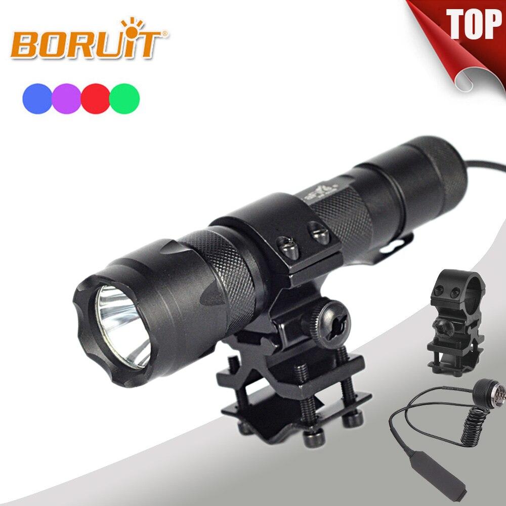 Boruit 1200LM XPE LED Flashlight Green Light Torches For Fishing Hunting Flashlamp lanterna torch With 18650 Battery Gun clip