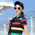 2017 Spring Summer New Short Sleeve Polo Shirt Damen Polo Hemd Cotton Striped Polo Temmes GolfShirts Ladies Tops Plus Size 6XL